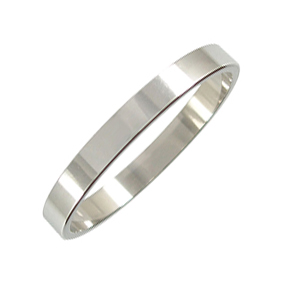 Platinum Wedding Ring Flat - Polished - 3mm