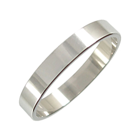 Platinum Wedding Ring Flat - Polished - 4.0mm