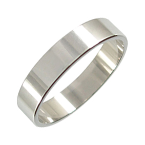Platinum Wedding Ring Flat - Polished - 5mm