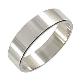 Platinum Wedding Ring Flat - Polished - 6mm