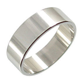 Platinum Wedding Ring Flat - Polished - 7mm