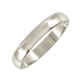 Platinum Wedding Ring Rounded - Polished - 4mm