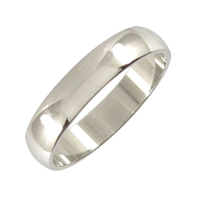 Platinum Wedding Ring Rounded - Polished - 5mm