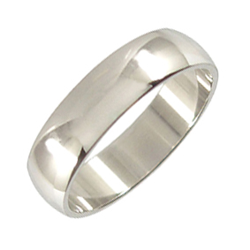 Platinum Wedding Ring Rounded - Polished - 6mm