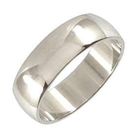 Platinum Wedding Ring Rounded - Polished - 7.0mm