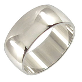 Platinum Wedding Ring Rounded - Polished - 9.0mm